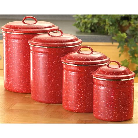 Ceramic kitchen canister bay isle home™. 4 - Pc. Enamel Canister Set, Red - 171524, Cookware & Utensils at Sportsman's Guide