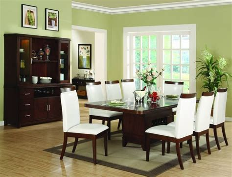 beautiful green paint colors for dining room with brown