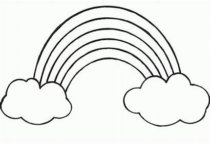 Rainbow Coloring Clipart Pages Drawing Clouds Cartoon