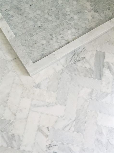 herringbone  hexagon marble tile floor bathroom