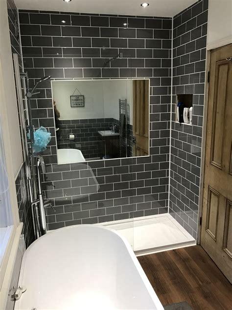 bathroom refurb walk  shower grey subway tiles wood