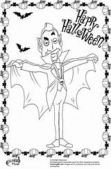 Coloring Dracula Halloween Pages Vampire Printable Getcoloringpages Count sketch template