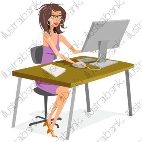 image de secretaire au bureau secrétaire illustration au bureau libre de droit sur
