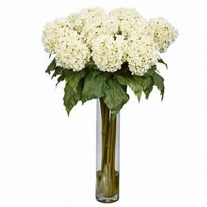31 in. H White Hydrangea Silk Flower Arrangement-1221-WH ...