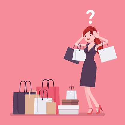 Shopaholic Woman Buying Too Much Stock Illustration ...