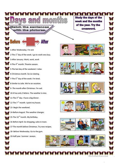 days  months worksheet  esl printable worksheets