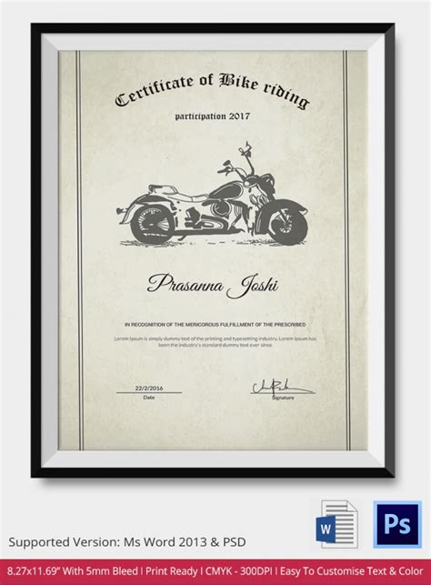 bike riding certificate template   word