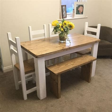 shabby chic kitchen table and bench shabby chic rustic dining table 4 chairs and bench set