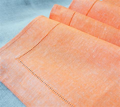 Linen Hemstitched Table Runner, Orange  Linen & Cotton