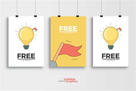 free 3 poster mockup psd template dribbble graphics