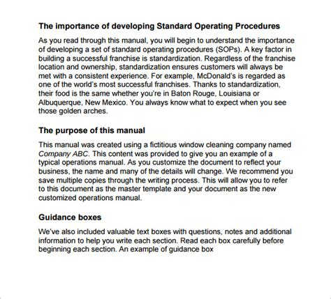 operations and maintenance manual template 11 operations manual templates to sle templates