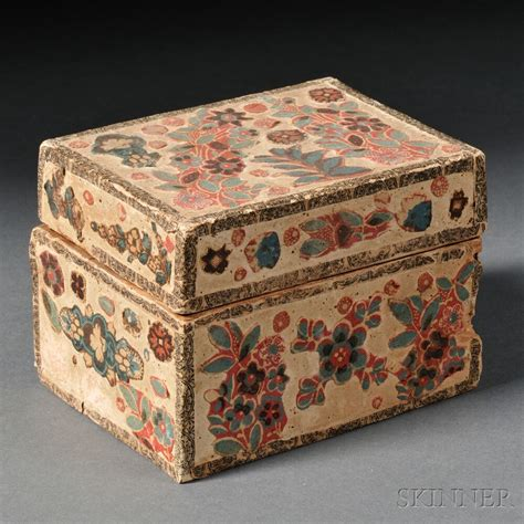 floral fabric applique covered box sale number  lot number  skinner auctioneers