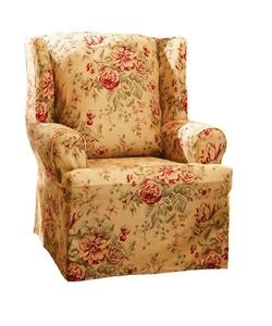 spring floral wing chair slipcover by sure fit chair
