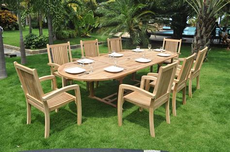 Clearance  10 Seater Teak Garden Set  Large Oval