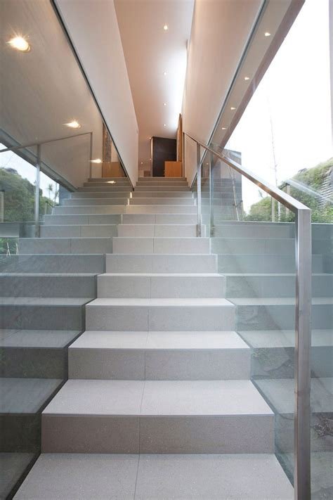 stairs glass wall redcliffs house christchurch
