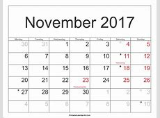 November 2017 Calendar With Holidays monthly calendar 2017