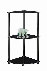 glass corner shelves Convenience Concepts 157006B Midnight Classic Glass 3-Tier ...