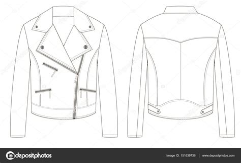 Biker Leather Jacket Front Back Parts Outline Technical