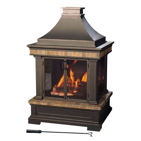 Sunjoy Amherst 35 In Woodburning Outdoor Fireplacel