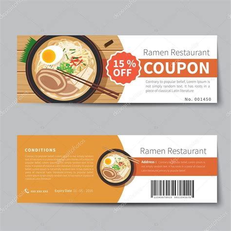 cuisine addict code promo japanese food coupon discount template flat design stock