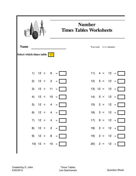 6 times tables printable worksheets times table test