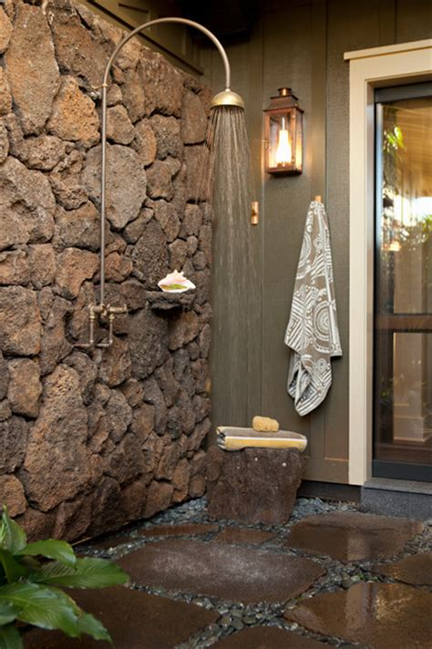 Tropical Shower by Rustic Tropical Outdoor Shower