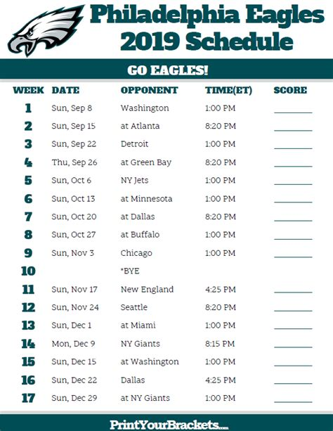printable philadelphia eagles schedule  season