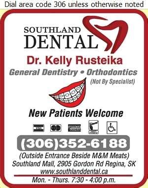 southland dental dr kelly rusteika dentists regina