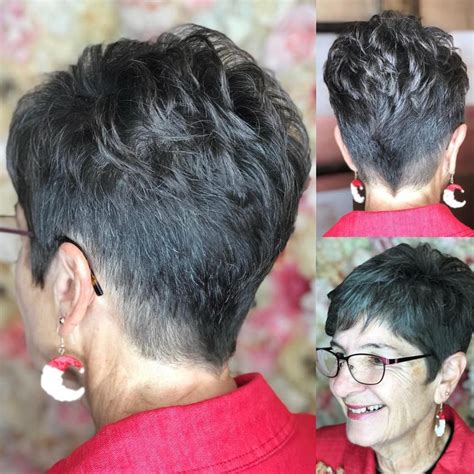 photo  tapered gray pixie hairstyles  textured crown