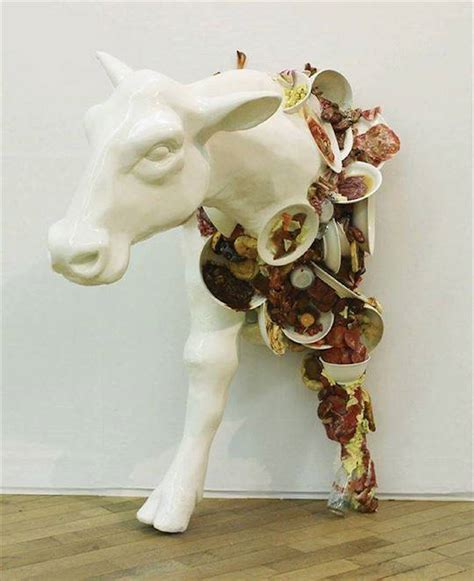 grotesque sculptures comment  food waste  production
