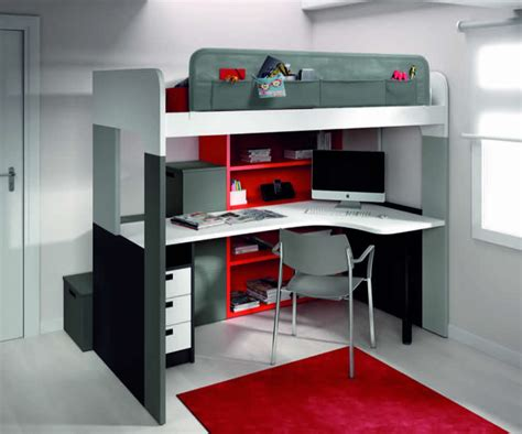 lit mezzanine blanc avec bureau lits superposés ou lits jumeaux