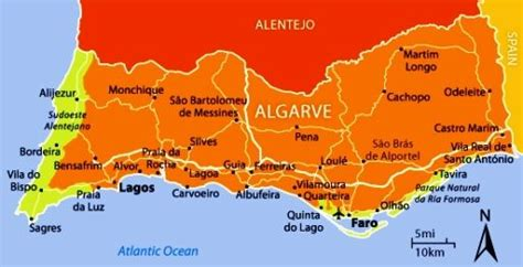 map   algarve portugal   beaches tuchman