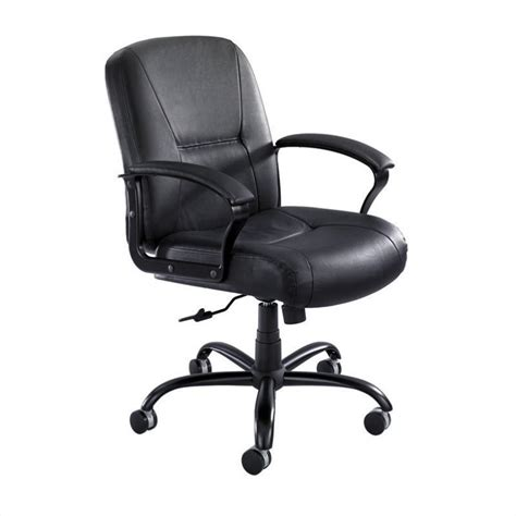 mid back big and office chair in black leather 3501bl