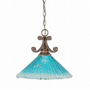Filament design light bronze pendant with teal crystal