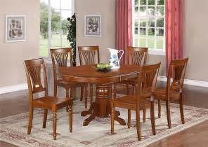 Furniture Kitchen Tables 7 Pc Oval Dinette Kitchen Dining Set Table W 6 Wood Seat Chairs In Saddle Brown