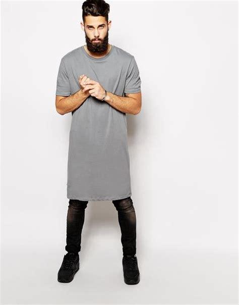 asos extreme longline  shirt  skater fit  gray