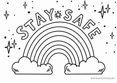 Rainbow Stay Safe Printable Colouring Deborah Coloring