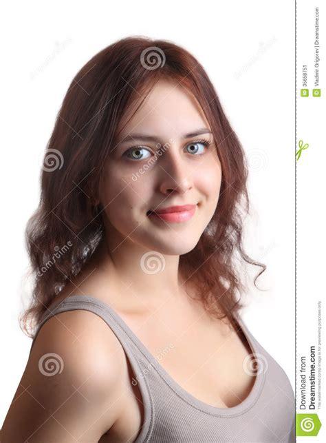 Redhead Caucasian Girl Years Old Beige Shirt