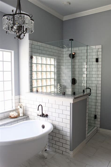 master bath remodel grey grout white subway tiles  grout