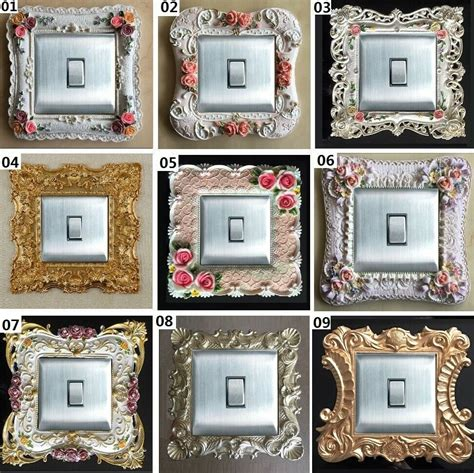 luxurious embossment paint flowers light switch