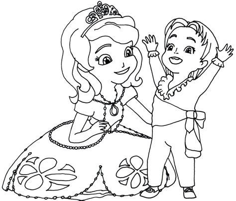 gambar mewarnai putri sofia untuk anak paud dan tk