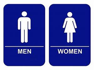 blue ada men women restroom signs set custom signs With bathroom signa