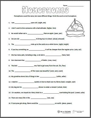free printable homophones worksheet weareteachers