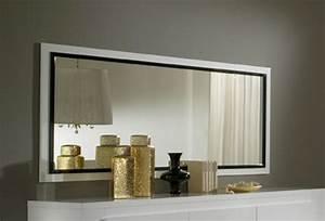 Miroir Grande Taille : miroir tania laque blanc blanc noir l 179 x h 85 ~ Farleysfitness.com Idées de Décoration