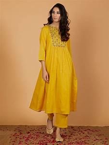 Buy Yellow Embroidered Cotton Kurta Vj13sep106 Vj13