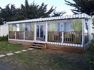 terrasse en bois couverte pour mobil home modele bache With terrasse couverte en bois