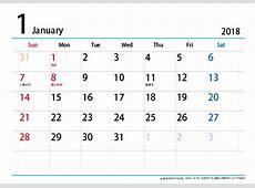 2018年1月のカレンダー 5 2019 2018 Calendar Printable with