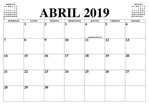 El Calendario Abril 2019