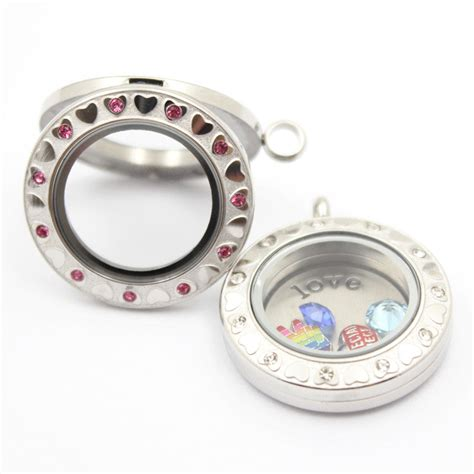magnetic l shade jewelry 316l stainless steel magnetic round floating locket