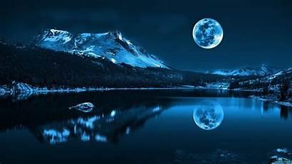 Moon Water Background Mountain Reflection Landscape Lake